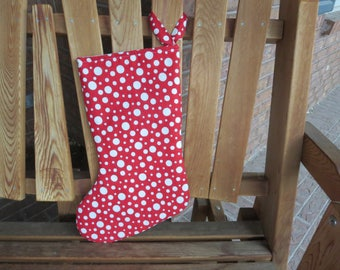 Christmas Stocking - Red With White Dots