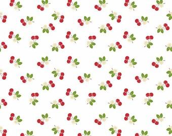 8.99 A Yard - One Week Sale - Lori Holt For Riley Blake Sew 2 Cherry White With Cherries - C5804