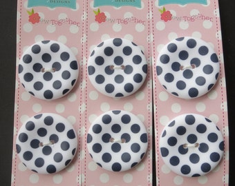 """Riley Blake Sew Together 1.5 """" Matte Round Dot Buttons - Navy Blue"""