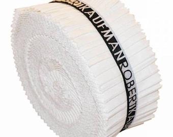 Kona  Jelly Roll/ Roll Up - 2-1/2in Strips Roll Up Kona Cotton Solids White - 40 pcs - RU- 190-40