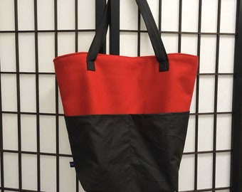 Wool and Waxed Cotton Bag Handmade Tote Bag Handbag with Pockets Red and Brown Tote Bag Gift for Her