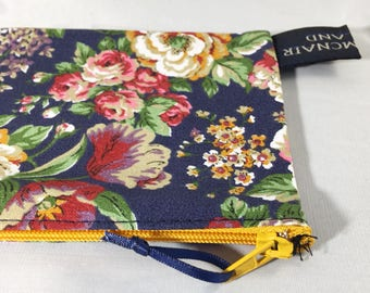 Navy Blue Floral Chintz Cotton Wallet Purse with Mustard Zip 6x3.5 inch Ready to Ship Girls Women Gift