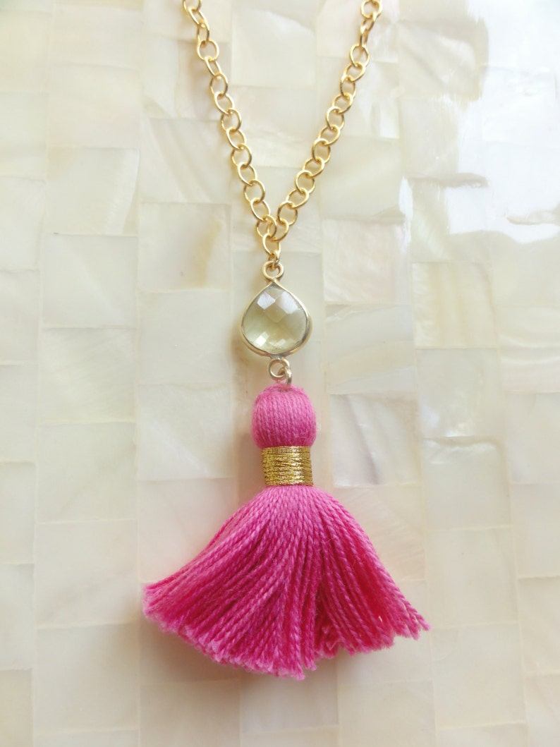 Pink Lemonade Faceted Lemon Quartz Vermeil Bezel Connector and Hot Pink Cotton Tassel on Gold Chain Necklace N1715