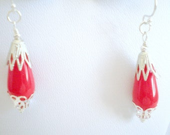 Red Earrings, Red and Silver Beaded Earrings, Winter Jewelry, Gift Under 20, One-of-a-kind, Valentine's Day, Formal Jewelry