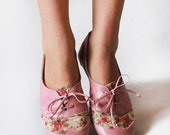 Pink Tea Party - Handmade Leather & Fabric flat shoes -  CUSTOM FIT
