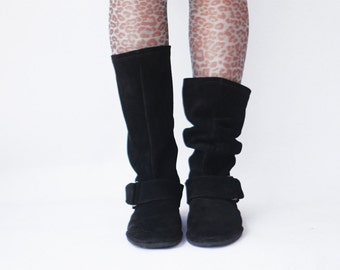 Black suede boots - Handmade Slouch Leather Boots - CUSTOM FIT