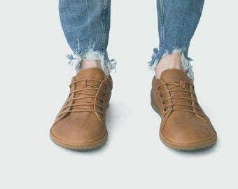 Barefoot Sneakers in Caramel - Handmade leather athletic shoes - CUSTOM FIT