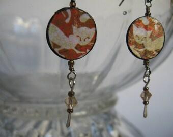 Paper earrings - paper bead jewelry - first anniversary gift - colorful earrings - dangle earrings - lightweight earrings - boho earrings