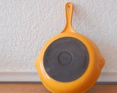 Vintage Le Creuset Frying Pan, Neon Yellow Orange Enamel & Cast Iron, No. 20