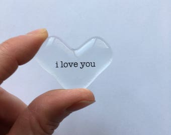 Mother's Day Message heart, I love you, love note, words of love, love token, pocket heart, love memento, clear glass heart, gift of love