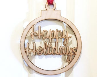 Happy Holidays Door Sign, Holiday sign, Door sign, home decor, wall hanging, Christmas bulb sign