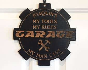 Personalized Garage Sign, Man Cave sign, Gearhead sign,  Wood door sign, Woodworker gift, Craftsman gift, wall hanging