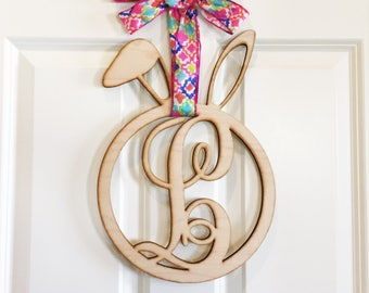 Easter Bunny Monogram Door Sign,  Initial door sign, Holiday door sign, personalized door sign, home decor, wood wall art hanging