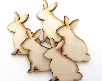 Unfinished Wood Bunny Rabbit Set of 5 , Easter Rabbit Bunny Cutout Shapes , Ready to Paint Rabbit Blanks