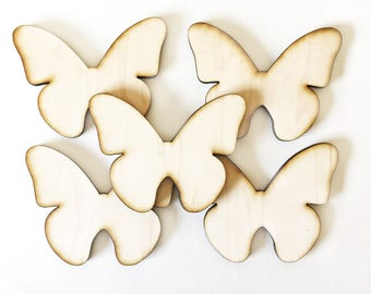 """Unfinished Wood Butterflies 4 1/4"""" inch Set of 5, wood butterfly, Holiday Craft supplies, wood shapes, wood blanks"""