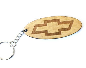 Chevy keychain, Chevy logo key chain, car keychain, wood keychain, Guy gift, dad gift, Chevy truck,