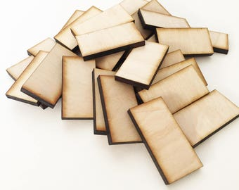 """Unfinished Wood Dominoes 1""""x2"""" inch Set of 25, wood rectangles, DIY supplies, Craft supplies, laser cut wood, wood shape"""