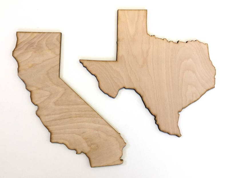 USA State laser cut out door hanger home decor United States wood cut outs State pride wall decor Wood State Cut Out