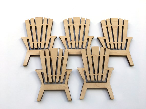 Unfinished Wood Adirondack Chairs Set Of 5 Craft Cutouts Etsy