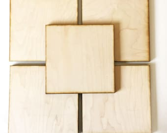 """Unfinished Wood Squares 5"""" inch Set of 5, wood square, Holiday Craft supplies, laser cut wood, wood shape"""