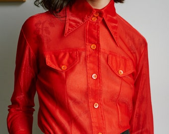 1970s Red Sheer Lady Marlboro Button Up