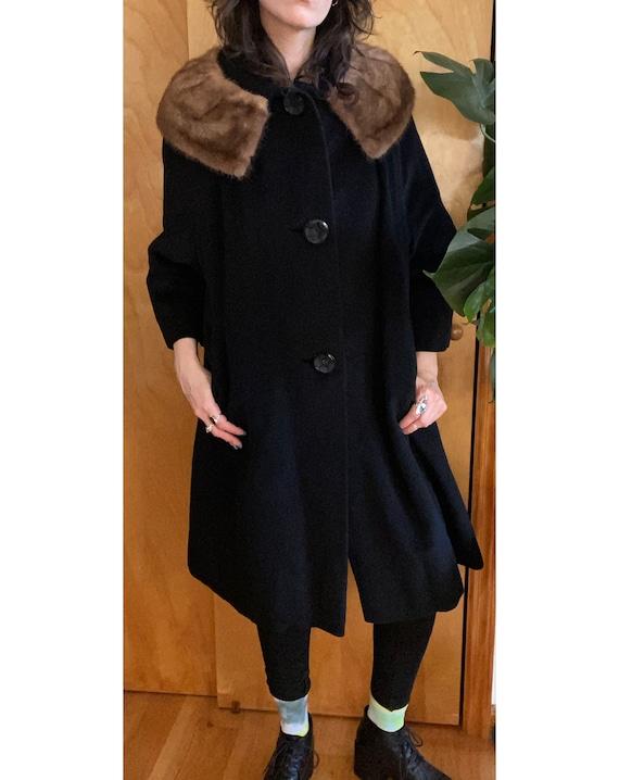 1950s Black Wool Swing Coat with Fur Trim