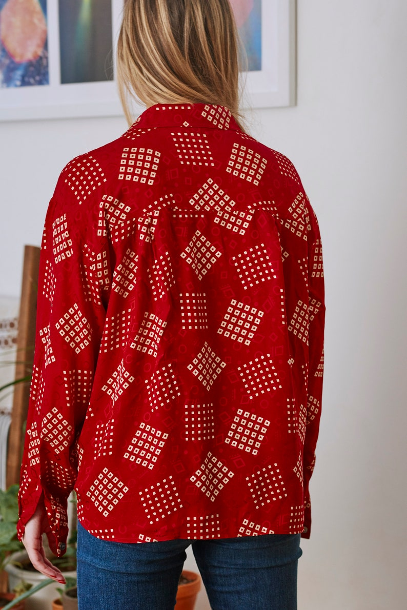 1980s Silk Anne Klien II Abstract Diamond Print Blouse
