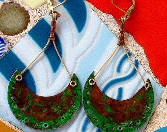 Rusted Green Crescent Dangle Earrings