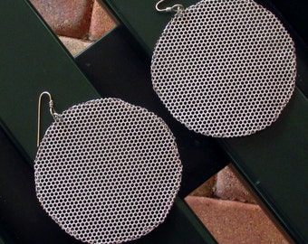Round Steel Mesh Statement Earrings