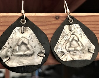 Universal Recycle Symbol On Black Leather Punk Style Earrings