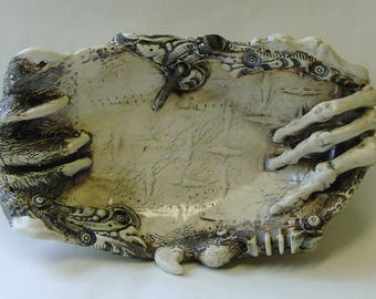 BioIndustrial Baroque Oval Dish with Skeleton Hand and Bear Claw