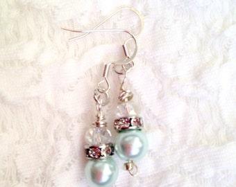 Earrings in heavenly blue dangle drop women jewelry