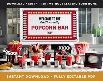 Printable Download Popcorn Bar Bundle set for Hollywood movie night theme, Movie themed wedding kit for edible wedding favors table ideas