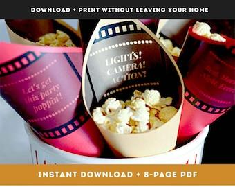 DIY Printable Popcorn Cones for movie wedding popcorn bar, edible wedding favors table ideas, popcorn snack food bags for home theater room