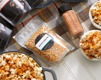 Popcorn seasoning and popcorn kit - custom flavored popcorn spice gift box, personalized popcorn gifts, gluten free foodie gift for him