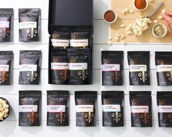 Gourmet popcorn seasonings - personalized gift set of flavored popcorn spices, popcorn gifts, custom gourmet foodie gift, gluten free