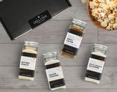 Movie Popcorn Seasoning Set - Popcorn Gifts featuring Buttery Garlic, Salted Caramel, Spicy Cajun and White Cheddar Jalapeno