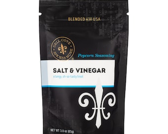 Salt and Vinegar Popcorn Seasoning - flavored gourmet popcorn for movie night snacks, gluten free condiment, salty popcorn gift set
