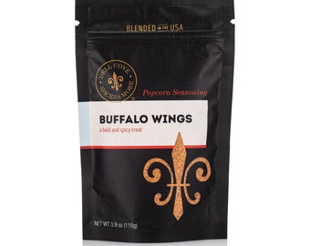Buffalo Wings Popcorn Seasoning - spicy popcorn topping for movie themed wedding, kids movie night flavored popcorn mix, gluten free powder