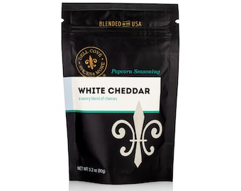 White Cheddar Cheese Popcorn Seasoning with White Cheddar and Parmesan cheese - gluten free spice mix for your popcorn bowl, keto food