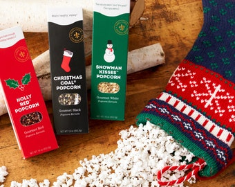 Christmas Popcorn Gift Set - Gourmet Deluxe Box for Him, Xmas holiday movie date night idea, teacher present or employee gift