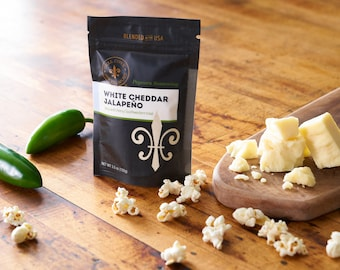 Popcorn Seasoning - White Cheddar Jalapeno flavor, Movie Night gourmet popcorn for employee gift box, birthday popcorn station supply