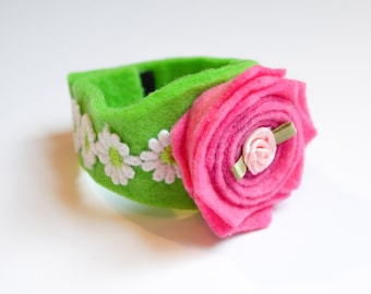 Felt Bracelet / Pink Rose with Rosette / Kids Jewelry Accessories