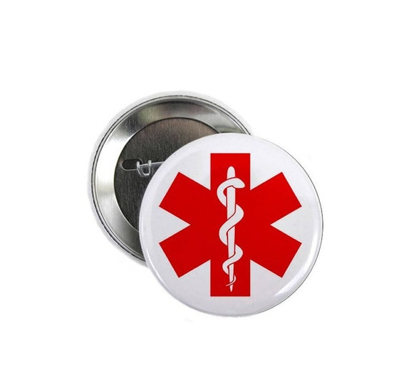 Red Medical Alert Symbol Medical Alert Pin Back Button Choose Etsy