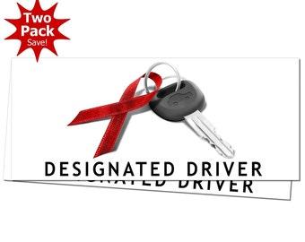 December Drunk Driving Prevention Designated Driver Window or Bumper Sticker 2-Pack