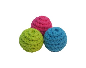 Small Spiral Squeaker Dog Balls - Choose Your Colors - Set of 3