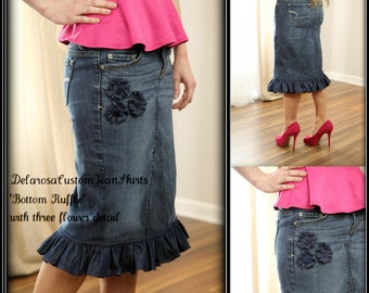 c60290409fccc DELAROSA Beautiful Bottom Ruffle modest denim skirt w/three flower detail  Custom size 2 4 6 8 10 12 14 16 18 20 22 24 26