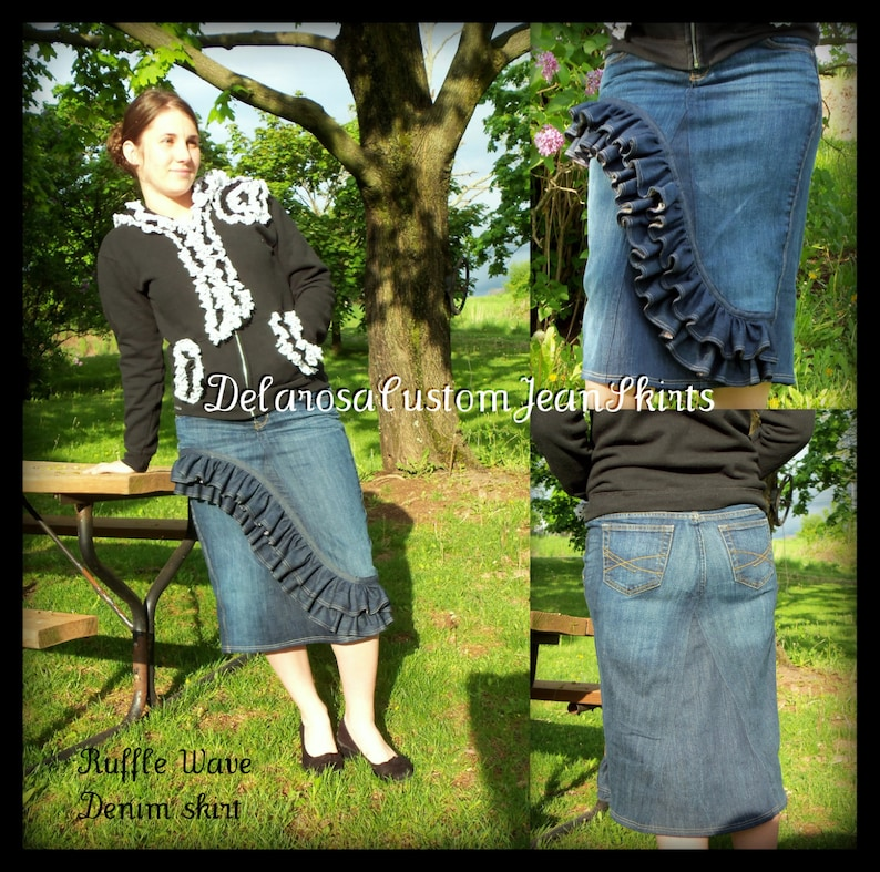 DELAROSA Jean Skirt Custom Order to Your size Front Ruffle Wave Denim Skirt size 0 2 4 6 8 10 12 14 16 18 20 22 24 26
