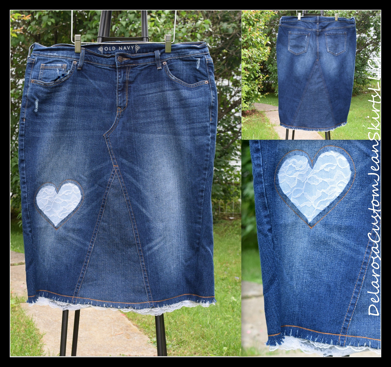 ef53950437 DELAROSA Laura Lace Heart Denim skirt Jean Skirt custom made | Etsy
