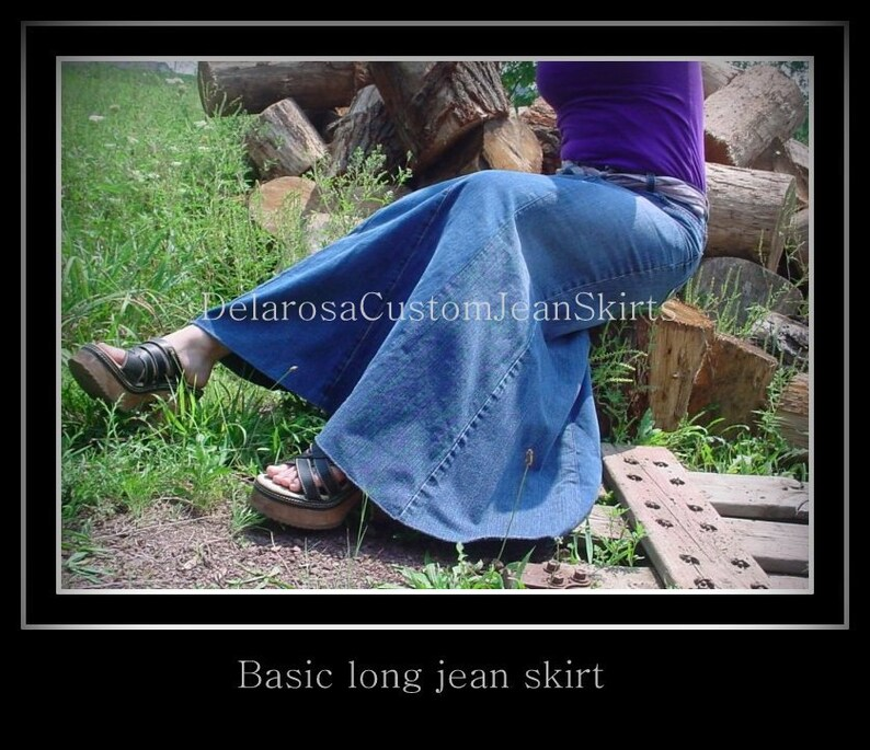 Custom Long Jean Skirt size 0 2 4 6 8 10 12 14 16 18 20 22 24 26 DELAROSA Custom Jean Skirts
